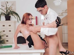 Secretary sits on the desk for a hardcore fuck videos