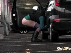 Quick public piss in a parking lot movies at freekiloclips.com