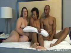 Chubby white chick and a black couple have sex movies at find-best-hardcore.com