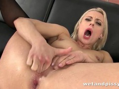 Pissy blonde makes a mess with her urine movies at sgirls.net