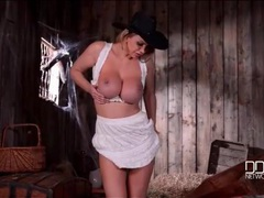 Cowgirl in shiny black boots has great tits movies at lingerie-mania.com