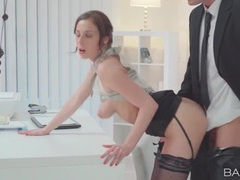 Stunning secretary bends over his desk for dick videos