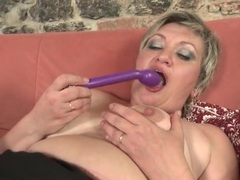 Granny in black stockings gets sexy with a toy movies at sgirls.net