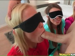 Three blindfolded girls in blouses suck his dick videos