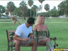 Hot blonde in body paint in a public park videos