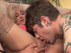 Old cougar wants this tattooed stud to fuck her videos