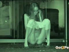 Tall and skinny girl pees in night vision footage movies at sgirls.net