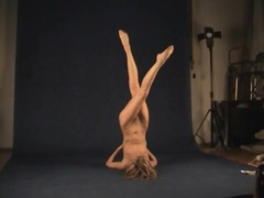 Flexible naked teenager in the photo studio videos