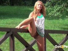 Hairy bush girl lifts and pisses outdoors movies at find-best-tits.com