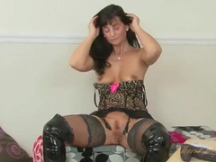 Black leather and leopard print lingerie on a hot mom movies at sgirls.net