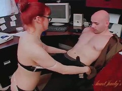 Secretary in stockings sucks cock in the office videos