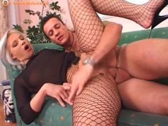 Dyed blonde hair girl fucked in fishnets movies at lingerie-mania.com