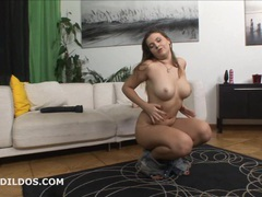 Thick brunette filling her wet pussy with a huge dildo videos