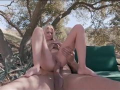 Huge dick fucks a petite slut outdoors videos