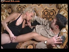 Hot blonde slut boned in her bald cunt tubes