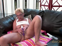 Short hair mature babe in glasses masturbates movies at find-best-lesbians.com