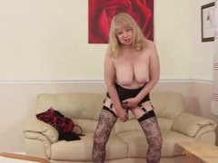 Solo mature blonde cutie fucks a dildo videos