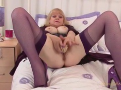 Old babe is super hot in purple lingerie videos