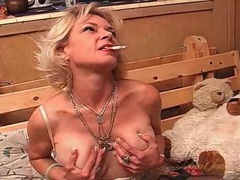 Big tits old babe smoking and masturbating in lingerie videos