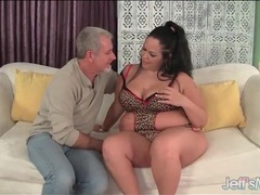 Bbw turns him on in leopard print lingerie videos