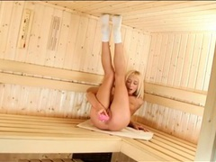 Dildo licking blonde in the sauna toys her cunt movies at find-best-tits.com