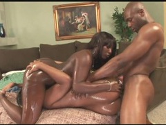 Oil coated black girls are perfect for ass fucking videos