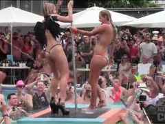 Pool party sluts dance on the pole for the audience videos