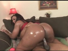 Black booty covered in oil rides a dick videos