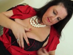 Big milf tits are sexy in a red satin blouse videos