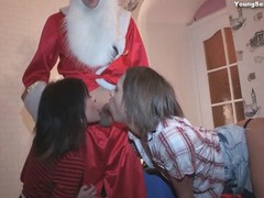 Christmas party foursome with great cocksucking videos