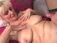 He cums on the hot mature blonde and keeps fucking her videos