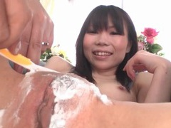Careful shaving of her japanese pussy and asshole tubes at japanese.sgirls.net