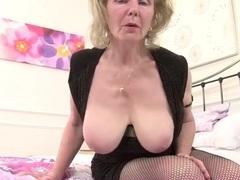 Bawdy grandma in fishnets has sexy big tits movies at lingerie-mania.com