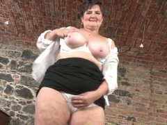 Naughty grandma rubs her saggy tits and wet pussy videos