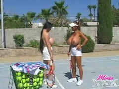 Topless babes on the tennis court have giant tits movies at find-best-ass.com