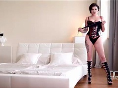 Dirty talking mistress is amazing in black latex movies at find-best-panties.com
