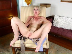 Short hair old lady in red lipstick masturbates solo movies at find-best-panties.com