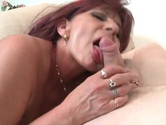 Fucked mature redhead takes a load on her tits videos
