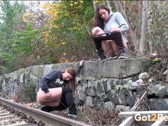 Friends piss by the railroad tracks movies at sgirls.net