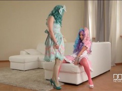 Cosplay hotties in colored wigs and pantyhose fool around movies at find-best-tits.com