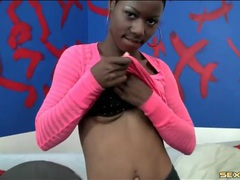Sweet young black girl strips and sucks a dick videos