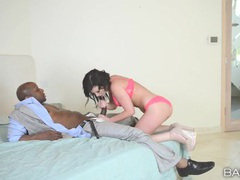 Jennifer white sucks black cock in pink lingerie movies at find-best-babes.com