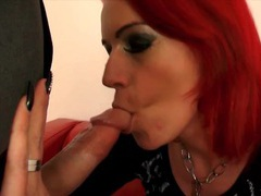 Dyed hair babe anica red sucks a dick and screws videos