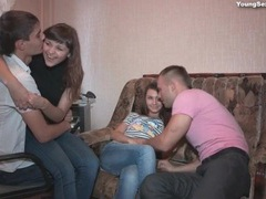 Teen couples are happy to fool around together clip