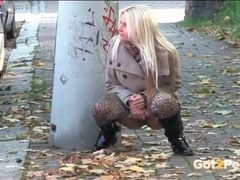 Leopard print leggings and boots on a pissing girl videos