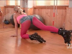 Roller babe is sexy in hot pink pantyhose movies at find-best-mature.com