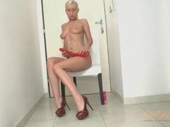 Long red dildo fucks a shaved milf pussy movies at kilotop.com