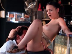 Bartender bangs the slutty customer on a stool movies at kilotop.com