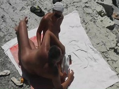 Quick handjob on the beach from his lovely wife movies at find-best-mature.com