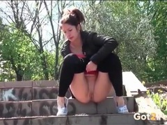 Sporty spandex pants on a teen pissing outdoors movies at lingerie-mania.com